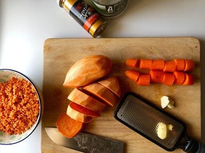 Recette soupe de lentilles corail et patates douces de Cook with Lu
