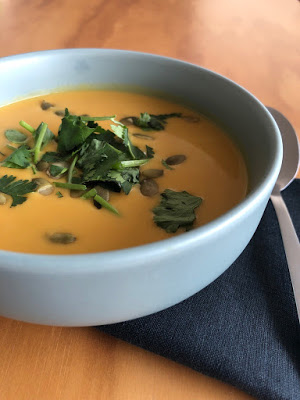 Recipe of red lentils and sweet potato soup from Cook with Lu