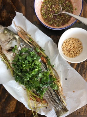 Recipe of the Thai steamed sea bass from Cook with Lu