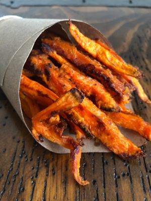 Recipe of the baked crispy sweet potato fries from Nourish by Lu